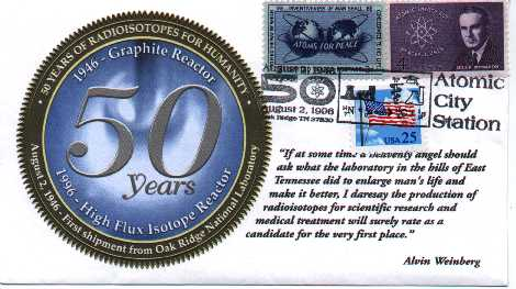 commemorative cachet for 50th anniversary of first open shipment of artificial radioisotopes, 70K